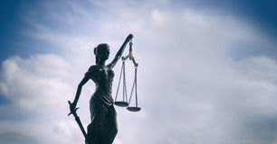 Scales of Justice background - legal law concept. With sky copy space area stock photo
