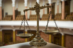 Scales of Justice in the Courtroom Stock Photos