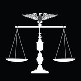 Scales of Justice with Eagle. Scales of justice with chains and Eagle on top (eagle separate unit in vector format Royalty Free Stock Image