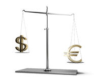 Scales of justice with euro and dollar symbols Stock Photo