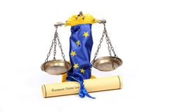 Scales of Justice, European union flag and European union law. Stock Photo
