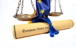 Scales of Justice, European union flag and European union law. Royalty Free Stock Photo