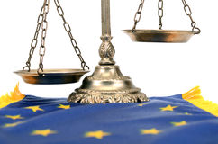 Scales of justice and Flag of European union. Royalty Free Stock Image