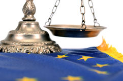 Scales of justice and Flag of European union. Royalty Free Stock Photos
