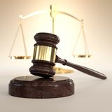 Scales of Justice and gavel Royalty Free Stock Photos