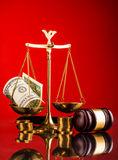 Scales of justice gavel and money Royalty Free Stock Photo