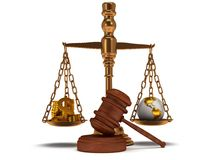 Scales justice with gavel on white.  3D. Scales justice with wooden gavel, coins, dollar sign and earth globe on white Royalty Free Stock Image