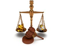 Scales justice with gavel on white.  3D. Scales justice with wooden gavel, coins, dollar sign and earth globe on white Stock Photo