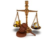 Scales justice with gavel on white.  3D. Scales justice with wooden gavel, coins, dollar sign and earth globe on white Stock Photos