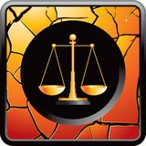 Scales of justice on gold cracked web button Stock Photography