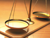 Scales Of Justice. Golden balance with depth of field and focus on the center of the first tray Stock Photography
