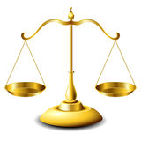 Scales of justice. Golden scales of justice with balanced plates Stock Photo