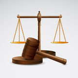 Scales justice and hammer Royalty Free Stock Photos