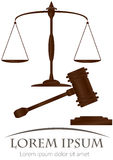 Scales of justice & hammer of justice Stock Images