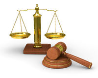 Scales justice and hammer on white background Stock Photography