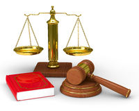 Scales justice and hammer on white background. Isolated 3D image Stock Images