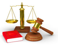 Scales justice and hammer on white background. Isolated 3D image Royalty Free Stock Photography
