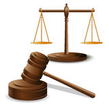 Scales justice and hammer Stock Photo