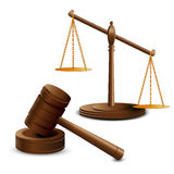 Scales justice and hammer Stock Photography