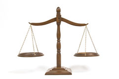 Scales of Justice. A horizontal picture of the scales of justice on a white background Royalty Free Stock Image