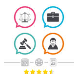 Scales of Justice icon. Auction hammer and case. Royalty Free Stock Photography