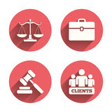 Scales of Justice icon. Auction hammer and case Royalty Free Stock Photos