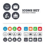 Scales of Justice icon. Auction hammer and case Stock Images