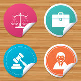 Scales of Justice icon. Auction hammer and case. Royalty Free Stock Images