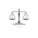 Scales of justice icon. With reflection on a white background stock illustration