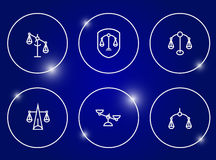 Scales of Justice icon set. Royalty Free Stock Photos