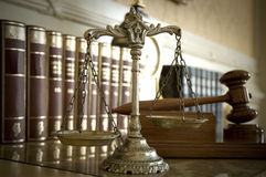 Scales of Justice and Judge`s gavel stock photo