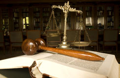 Scales of Justice and Judge`s gavel Royalty Free Stock Images