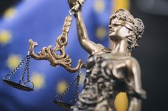Scales of Justice, Justitia, Lady Justice in front of the Europe stock photos