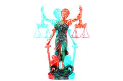 Scales of Justice, Justitia, Lady Justice on the white isolated royalty free stock image
