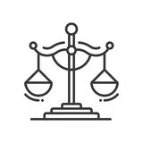 Scales of Justice - line design single isolated icon Royalty Free Stock Images