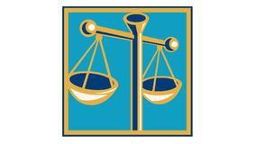 Scales of Justice Retro. 2d animation of a scales of justice swinging done in retro style