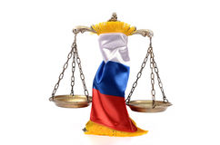 Scales of Justice and Russian Federation flag Stock Photo