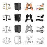 Scales of justice, a safe hacked, a criminal in handcuffs, a robbery. Crime set collection icons in cartoon black Royalty Free Stock Image