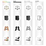 Scales of justice, a safe hacked, a criminal in handcuffs, a robbery. Crime set collection icons in cartoon black. Monochrome outline style vector symbol stock Stock Images