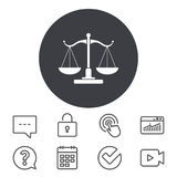 Scales of Justice sign icon. Court of law symbol. Stock Photos