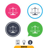 Scales of Justice sign icon. Court of law symbol. Royalty Free Stock Image