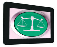 Scales Of Justice Tablet Means Law Trial Stock Image