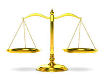 Scales justice on white background. Isolated 3D Royalty Free Stock Photography