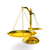 Scales justice on white background. Isolated 3D Royalty Free Stock Images