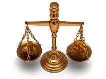 Scales justice on white.  3D. Stock Photography