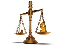 Scales justice on white.  3D. Royalty Free Stock Photos