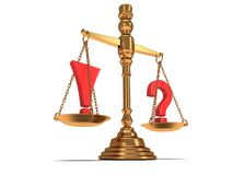 Scales justice on white.  3D. Royalty Free Stock Photography