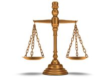Scales justice on white.  3D. Royalty Free Stock Images