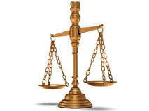 Scales justice on white. Isolated 3D. Stock Photography