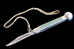 Scales knife on black background Royalty Free Stock Photos